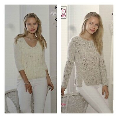 c631e03f6cead0 KNITTING PATTERN Ladies Round Neck Lacy Cardigan   Jumper DK King Cole 5045