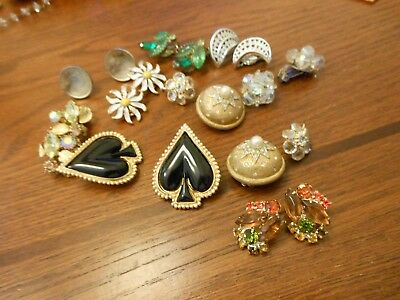 Large Lot Of Vintage Earrings   Sherman Trifari  Aurora Borealis  Rhinestones