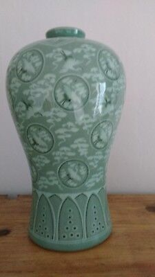 Korean Large Celadon Crackle Glaze Vase
