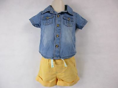 Cat & Jack 3-6M Outfit Baby Girl Shorts Blue Yellow NEW
