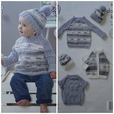 Baby KNITTING PATTERN Baby Jumpers Cardigans & Hat Splash DK KingCole 5089