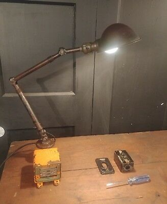 Vintage Industrial Desk Lamp w/ USB ports - Machinist Task Light Steampunk table