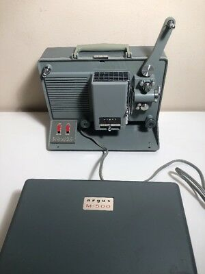Vintage Argus M500 - 8mm Film Movie Projector w/Reel MINT Working Condition