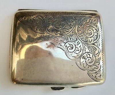 1916 engraved antique solid silver cigarette case made by Smith & Bartlam, B'ham