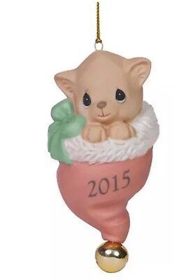 2015 Precious Moments Pur-fect Love Kitten in Santa Hat Cat Christmas Ornament