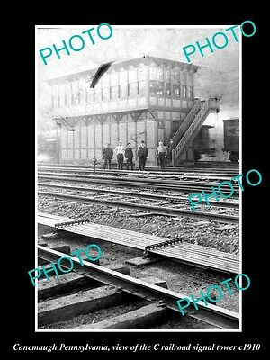 OLD LARGE HISTORIC PHOTO OF CONEMAUGH PENNSYLVANIA, THE C RAILROAD TOWER c1910