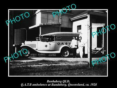 OLD LARGE HISTORIC PHOTO OF BUNDABERG QUEENSLAND, THE QATB AMBULANCE CAR c1928
