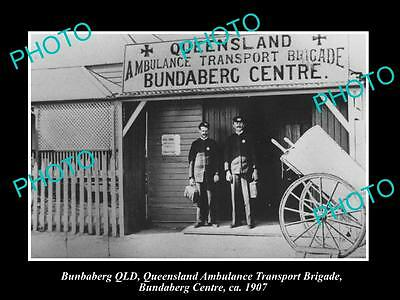 OLD LARGE HISTORIC PHOTO OF BUNDABERG QLD, THE QATB AMBULANCE STATION c1908