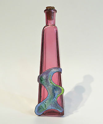 Purple Glass Bottle With Enamel Botella Con Esmalte
