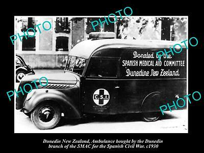 Old Large Historic Photo Of Dunedin New Zealand Spanish Civil War Ambulance 1930