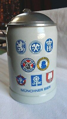 VINTAGE MUNCHNER BIER STEIN LIDDED BEER MUG NO MAKERS MARK 6'' high
