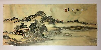 Antique Chinese Textile Embroidery W/ Calligraphy Signed