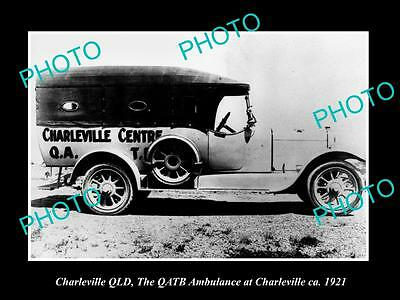 OLD LARGE HISTORIC PHOTO OF CHARLEVILLE QUEENSLAND, THE QATB AMBULANCE CAR c1921