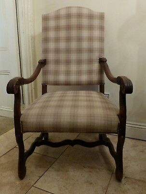 Antique French 'Os de Mouton' Large Carved Oak Upholstered Armchair Chair Throne