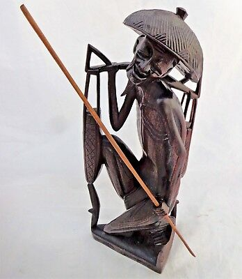 Antique Asian Figure Chinese Hand Carved Water Carrier c 1900 - 1920 Hardwood