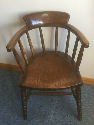 Edwardian Beech and Elm Desk/Office chair. Original and in Good condition.