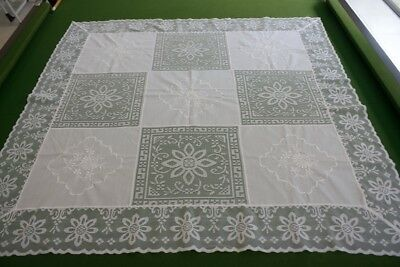 VINTAGE TABLECLOTH SMALL WHITE POLYESTER / COTTON EMBROIDERED 94x91cm #122