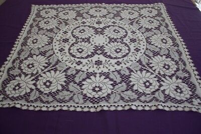 VINTAGE TABLECLOTH / CENTREPIECE Cream Cotton Lace 81x74cm #98