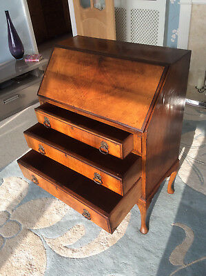 Vintage Walnut Queen Anne Style Writing Bureau with 3 Drawers