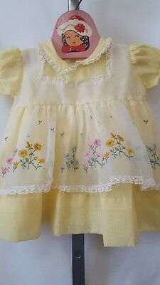 Vintage Infant Girl Yellow Spring Summer Sheer Pinafore Style Dress Size 18M?