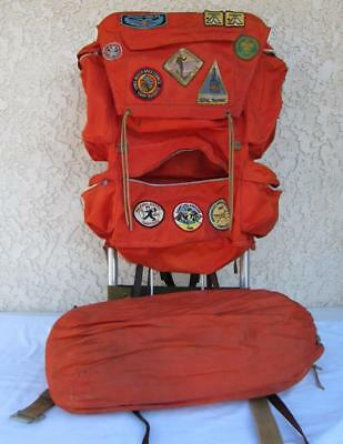 Vintage Camp Trails Cruiser Backpack + 1960s Boy Scout Patches WWII Sleeping Bag