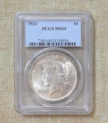 1923 Peace Dollar - Pcgs Slabbed - Ms64