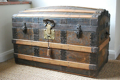vintage american express label 1892 leather dome top trunk with brass lock & key