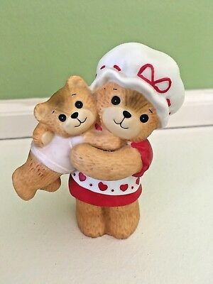 Enesco Lucy and Me Porcelain Bear Mother Holding Baby Red Hearts Apron Hat 1980
