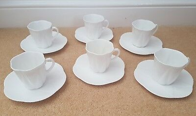 Shelley Dainty White Fine Bone China 6 Cups & Saucers - RD272101
