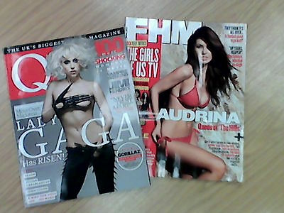 FHM AND Q Magazine Back issues.  Lady Gaga.