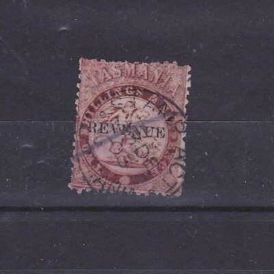 Tasmania 2 shillings 6 pence St George stamp STAMP ACT and pen cancel.