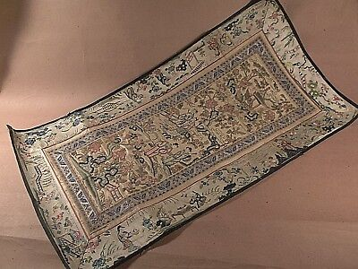 Antique Chinese Asian Hand Embroidered Silk Panel Table Runner Coverlet
