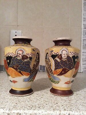 Antique Pair Japanese Hand Painted Vases