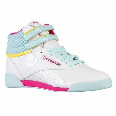 REEBOK V63067 FREESTYLE II Girl's (M) White/Pink/Cool Bree Leather Hi-Top Shoes