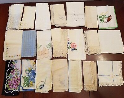 LOT OF 21 Vintage HANDKERCHIEFS HANKIES FLORAL PRINT Embroidery LACE Appliques