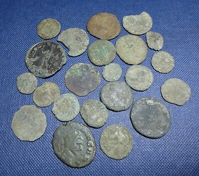 Group Of 22 Roman Coins Norfolk Metal Detecting Finds Uncleaned Unidentified.