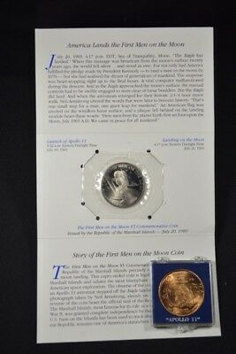 Lot! Marshall  Islands First Men on the Moon Commem and Bronze Medal