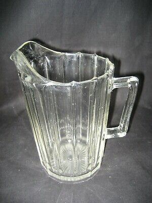 Vintage Clear Glass Ribbed Water Juice Pitcher One Quart