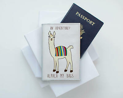 Llama 08 Alpaca Furry Fluffy The Emperor Faux Leather Passport Cover /& Tag