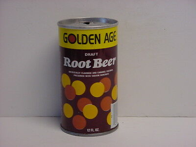 Vintage Golden Age Root Beer Straight Steel Pull Tab Top Opened Soda Can