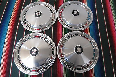 """RARE Vintage 1977 1978 Cadillac Coupe Fleetwood Deville Hubcaps 16"""" Wheel Covers"""