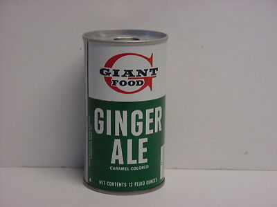 Vintage Giant Food Ginger Ale Straight Steel Pull Tab Bottom Opened Soda Can