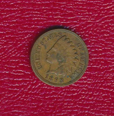 """1893 INDIAN HEAD CENT **FULL """"LIBERTY"""" VISIBLE** NICE LATE 19th CENTURY COIN!"""
