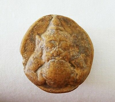 19C S.E. Asian Stone Carved Demon Amulet (Mil)