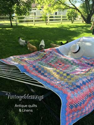 """Our Prettiest Ever! Vintage 30s Trip Around The World QUILT 77"""" x 61"""""""