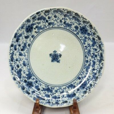 G053: Japanese old IMARI porcelain plate with flower arabesque pattern in 18c