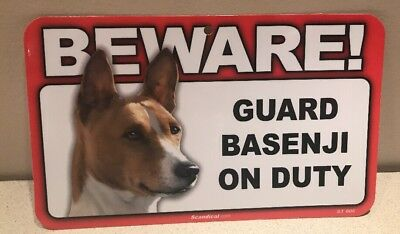 Beware! Guard Basenji On Duty sign. Measures 8 inches x 4.75 inches. Free Ship.