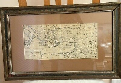 Antique 1717 Map by Herman Moll, Places Mentioned..Old..New Testaments., FRAMED