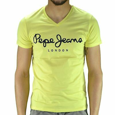 f313d28ceb0 PEPE JEANS LONDON T-Shirt Col V Stretch PM500373 Slim Fit Coton Jaune Neuf  New