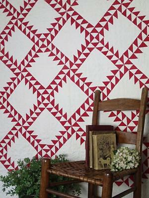 """Beautiful Antique c1920 Graphic Sawtooth Red & White QUILT 77"""" x 77"""""""